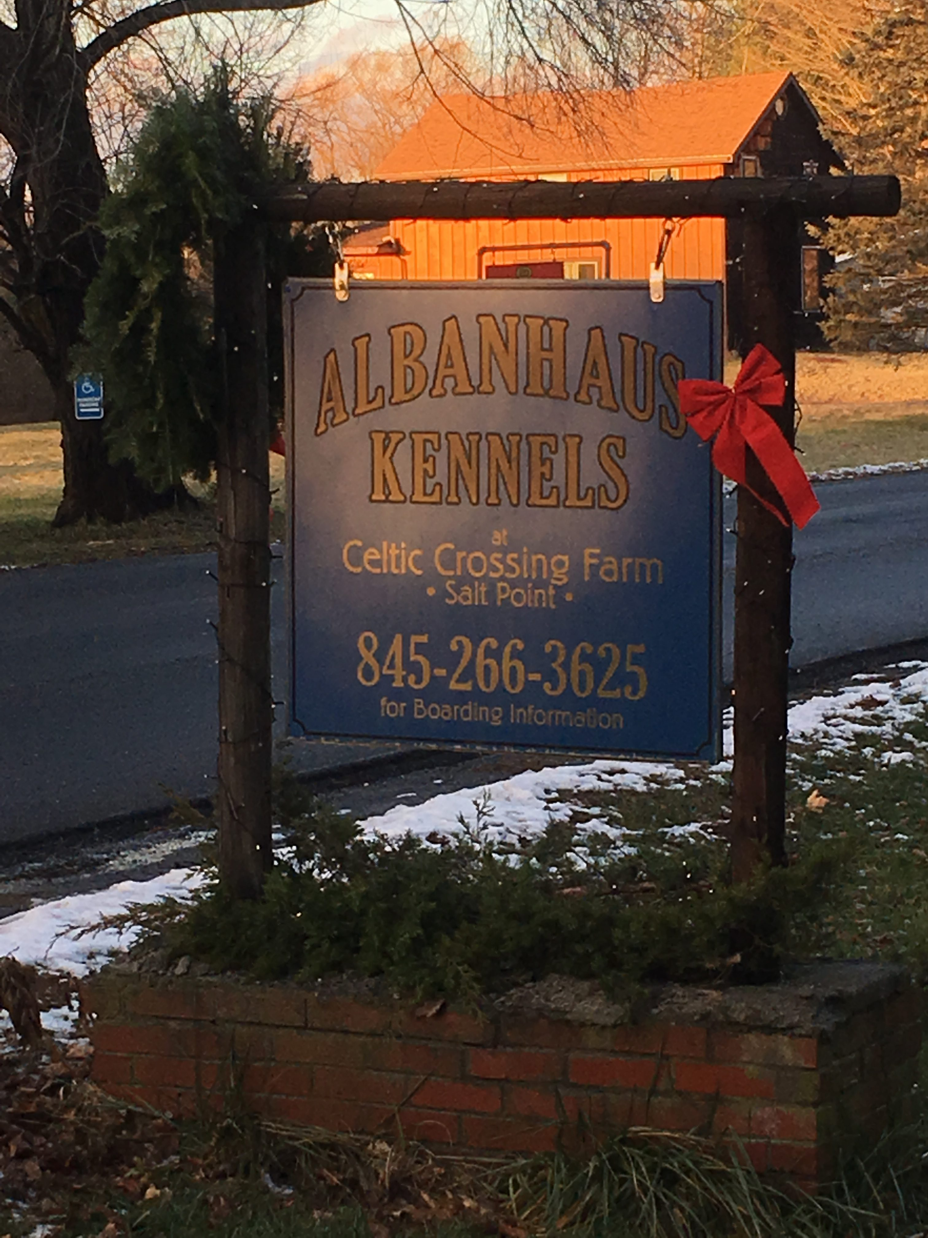 photo of Albanhaus Kennels sign with phone 845-266-3625